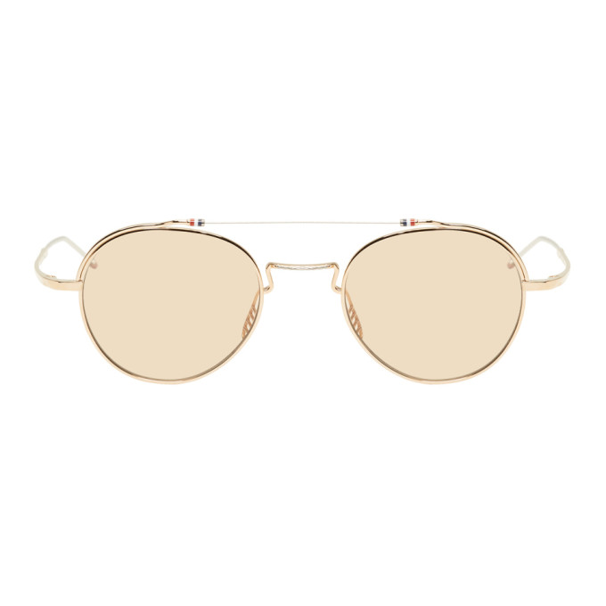 c83fd3f6f76 Thom Browne Gold And Silver Tb912 Sunglasses In Wgold Silve