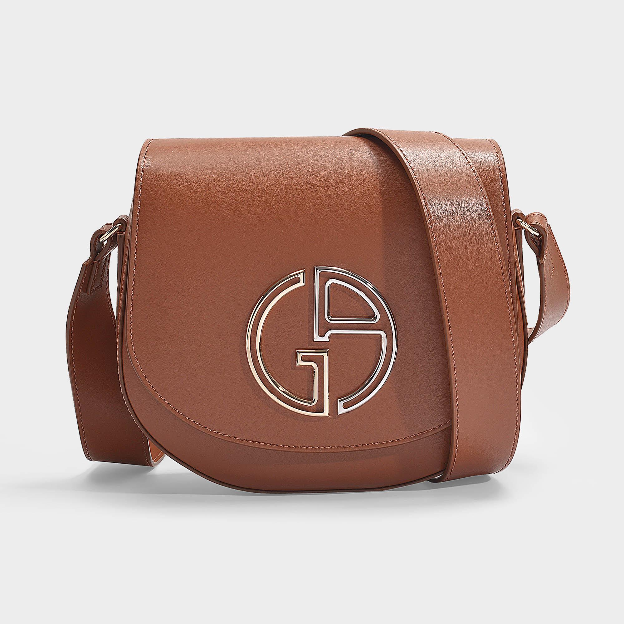 Giorgio Armani   Medium Shoulder Bag In Black Calfskin In Brown