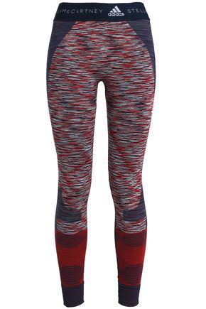 Adidas By Stella Mccartney Printed Stretch-jacquard Leggings In Navy