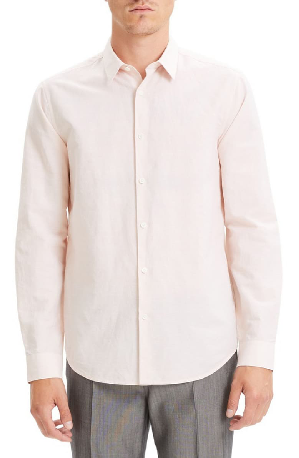 Theory Irving Trim Fit Linen Blend Sport Shirt In Tint