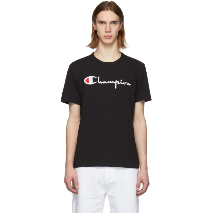 b474d227383f Champion Reverse Weave Black Script Logo T-Shirt In Nbk   ModeSens