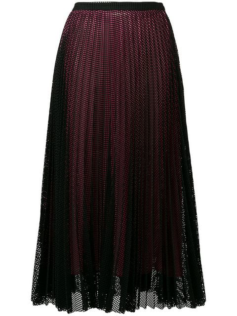 Marco De Vincenzo Mesh Layer Pleated Skirt In Black