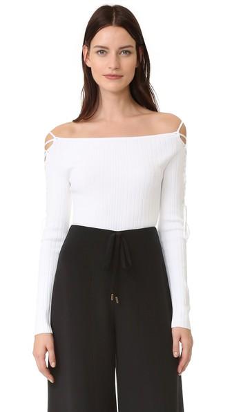 18213edda01 Cushnie Et Ochs Lace-Up Off-The-Shoulder Ribbed-Knit Bodysuit In ...