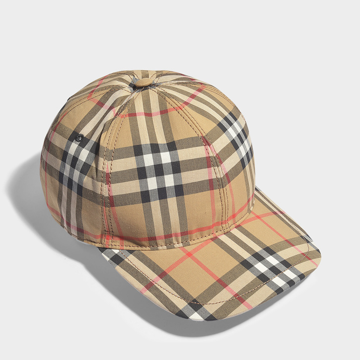 509d83c2a08 Top off your everyday looks with Burberry s iconic Vintage Check cap. This  style has been crafted in Italy from cotton and has an adjustable leather  tab at ...