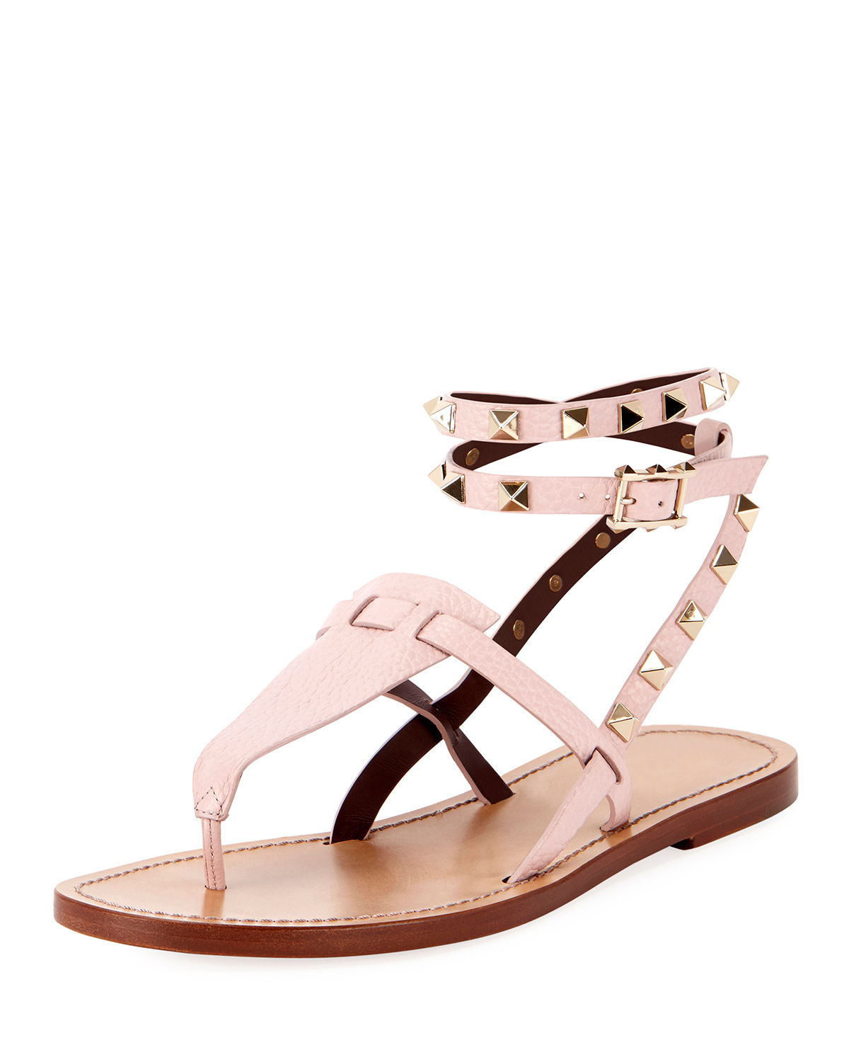 088a102a2895 Valentino Flat Rockstud Ankle-Wrap Gladiator Sandals In Pink