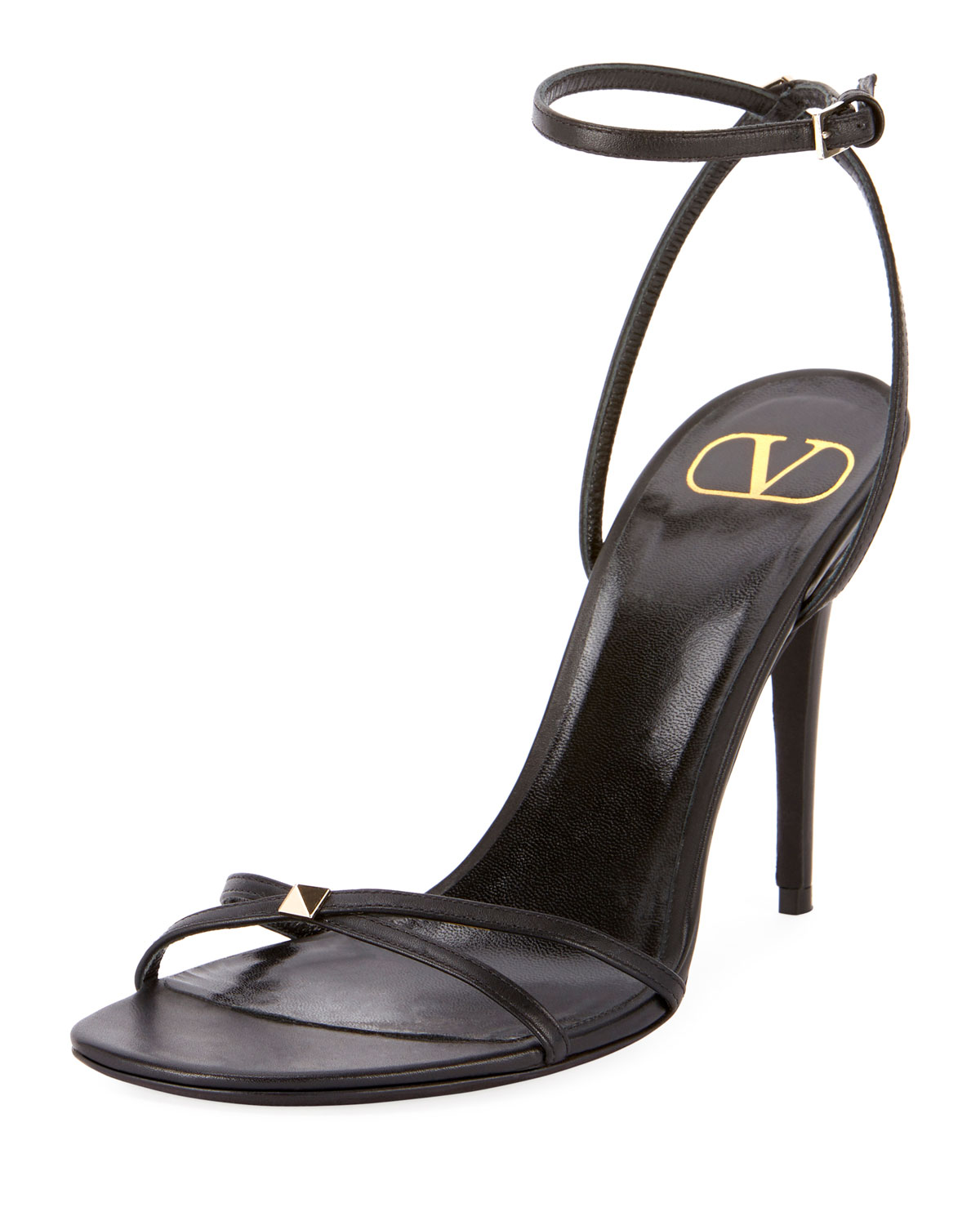 be64f2bc120a Valentino Rockstud Ankle-Strap Sandals In Black
