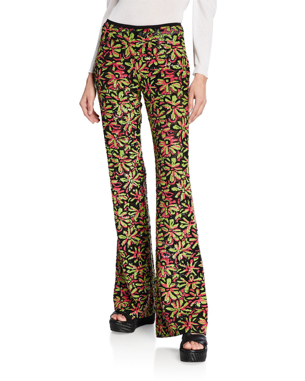 Michael Kors Watermelon-Lime Daisy Embellished Flare Pants In Green