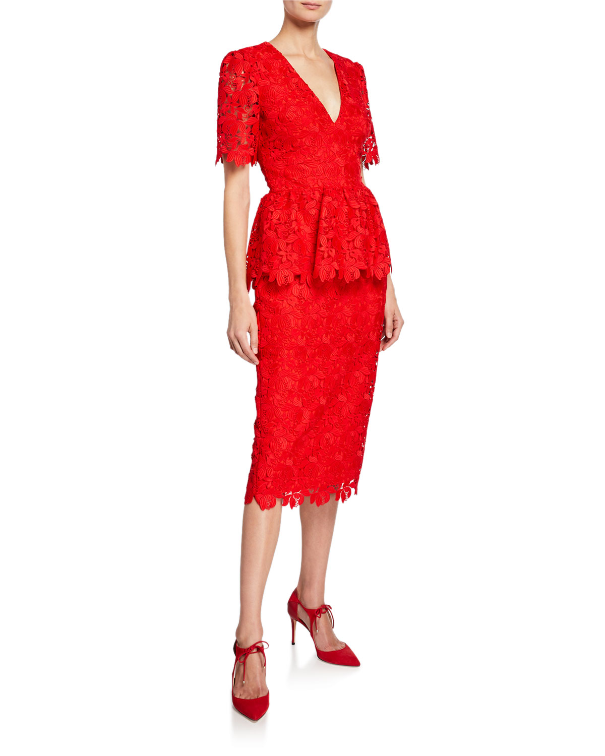 a86bf023628 Badgley Mischka V-Neck Short-Sleeve Scallop Lace Peplum Dress In Red ...