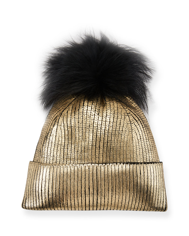 37e7054f68314c Jocelyn Fox Fur Pom-Pom Metallic Beanie In Gold | ModeSens