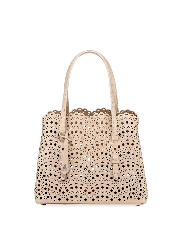 Alaïa Mina Small Laser-cut Tote Bag In Nude