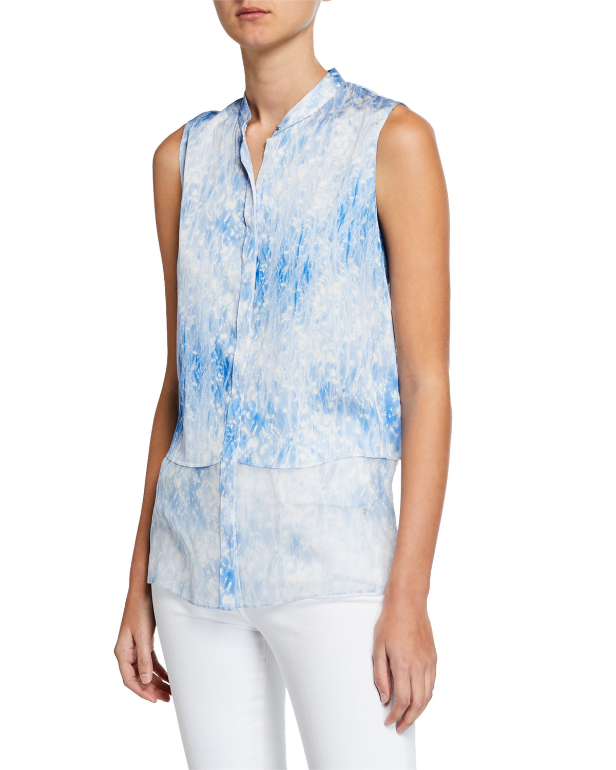 ee2b0832b985 Elie Tahari Felicity Tie-Dye Button-Down Sleeveless Blouse In Light Blue