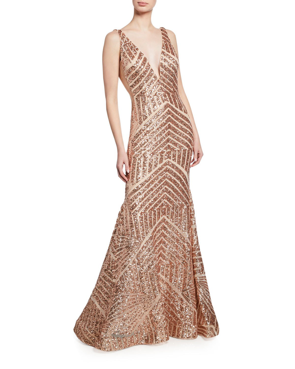 7f6c5ebdfdb0 Jovani Sequin Geometric Deep V-Neck Sleeveless Mermaid Gown In Pink/Gold