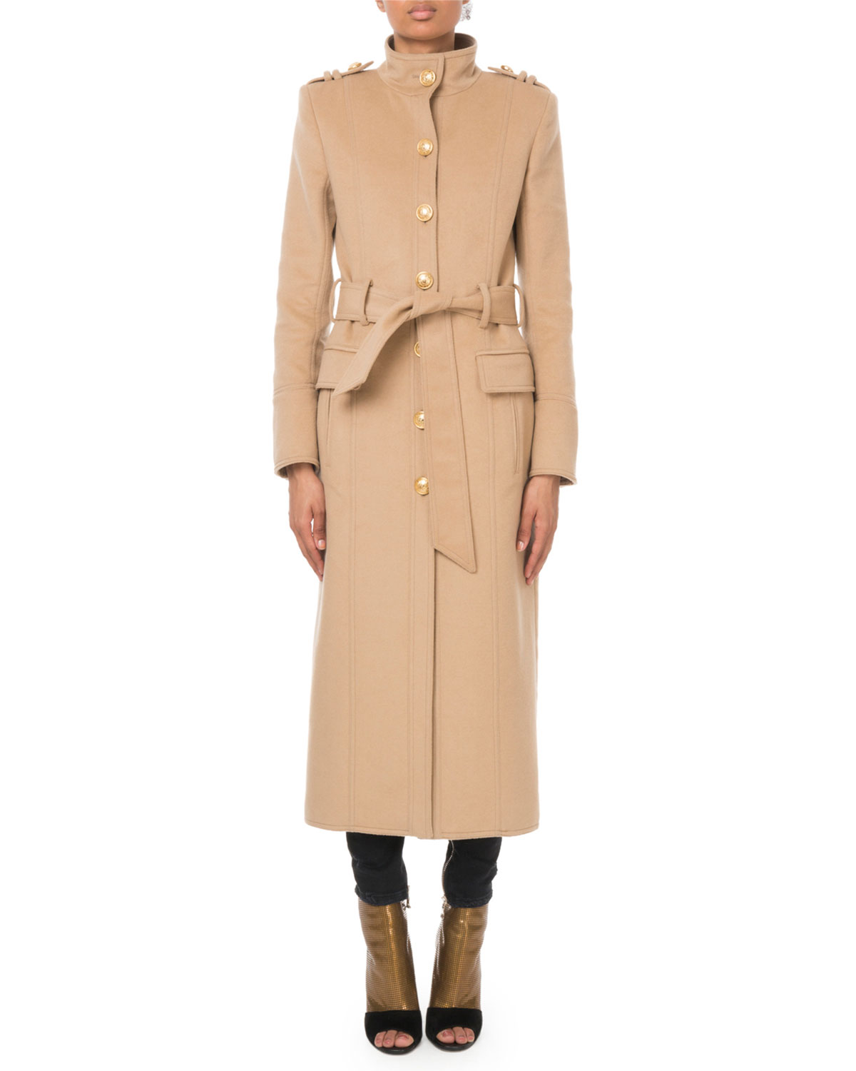 choose genuine well known fashion design Long Belted Wool-Cashmere Military Coat in Camel