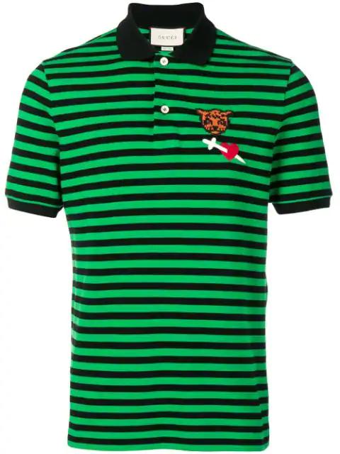 Gucci Logo-Embroidered Cotton-PiquÉ Polo Shirt In 1108 Green/Black
