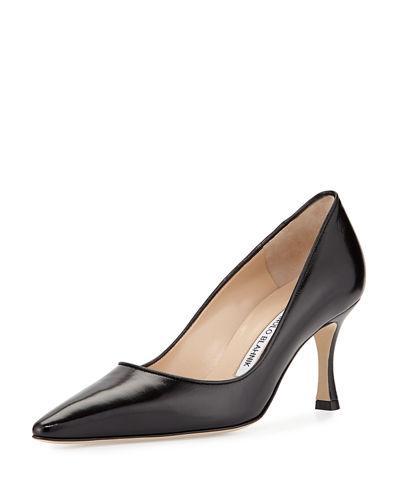 Manolo Blahnik Tuccio Leather Mid-Heel Pump, Black