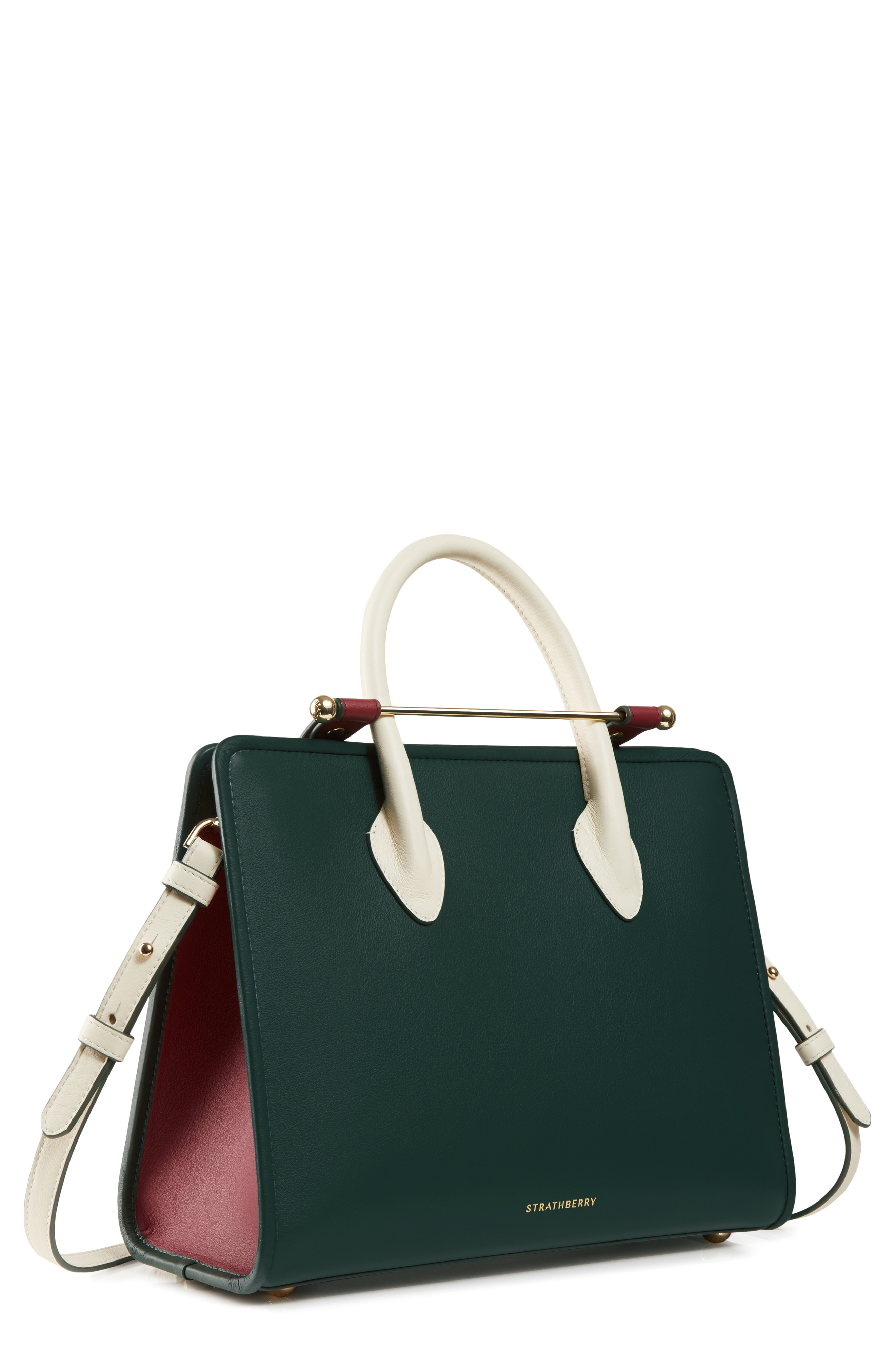 Strathberry Midi Leather Tote - Green In Bottle Green  Ember  Vanilla 54cbbf88def1d