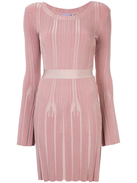 Herve Leger Ribbed Fitted Jumper Dress In Pink