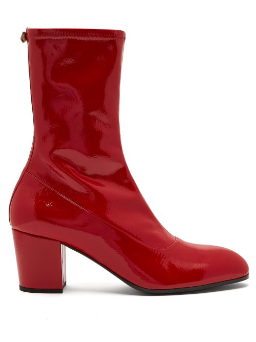 Gucci Printyl Patent Leather Zip Boot In Red