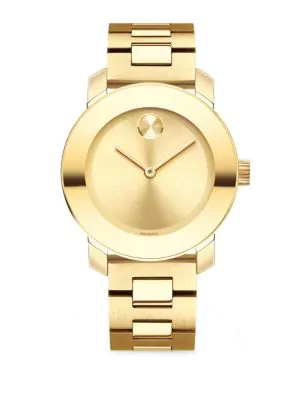Movado Bold Analog Stainless Steel Bracelet Watch In Gold