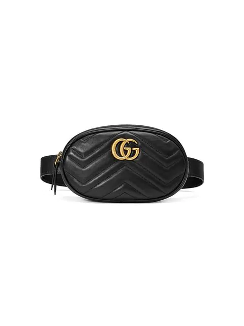 Gucci Gg Marmont 2.0 Matelasse Leather Belt Bag - Black