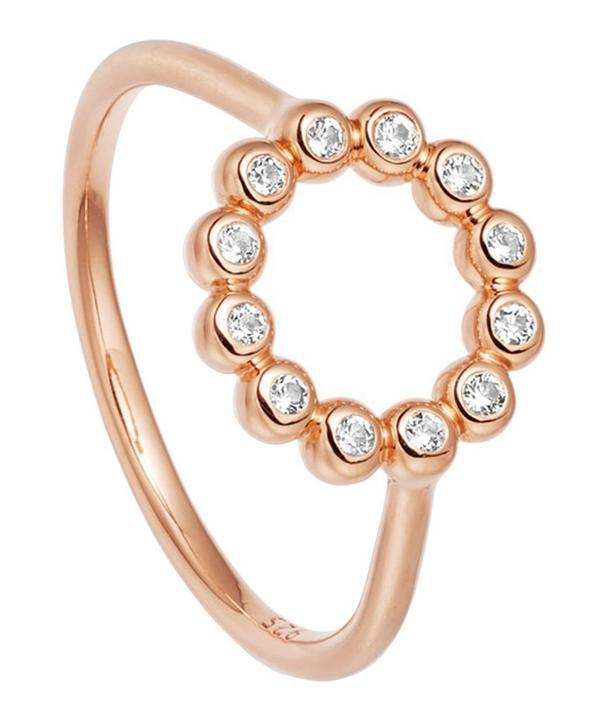 Astley Clarke Rose Gold Vermeil Stilla Arc White Sapphire Beaded Ring