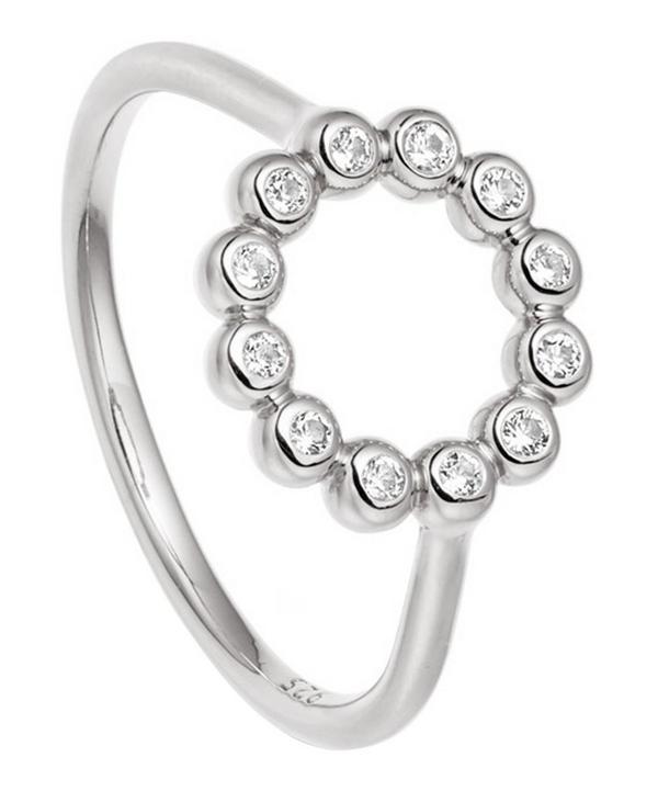 Astley Clarke Silver Stilla Arc White Sapphire Beaded Ring