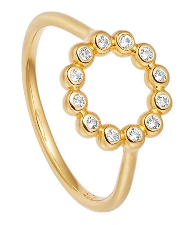 Astley Clarke Gold Vermeil Stilla Arc White Sapphire Beaded Ring