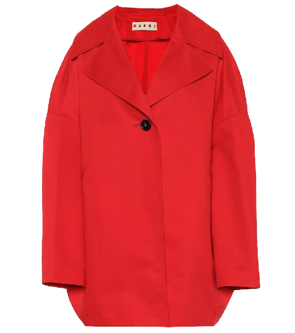 Marni Cotton And Linen Coat In Red