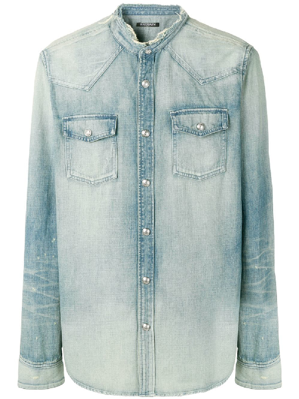29086f49 Balmain Denim Shirt In Blue | ModeSens