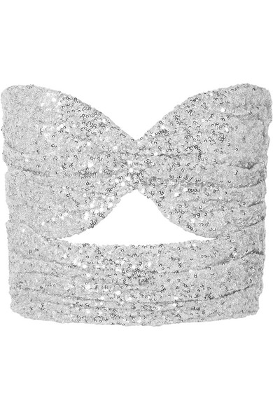 Tulle Silver In Cutout Bustier Sequined Top 2EID9HYW