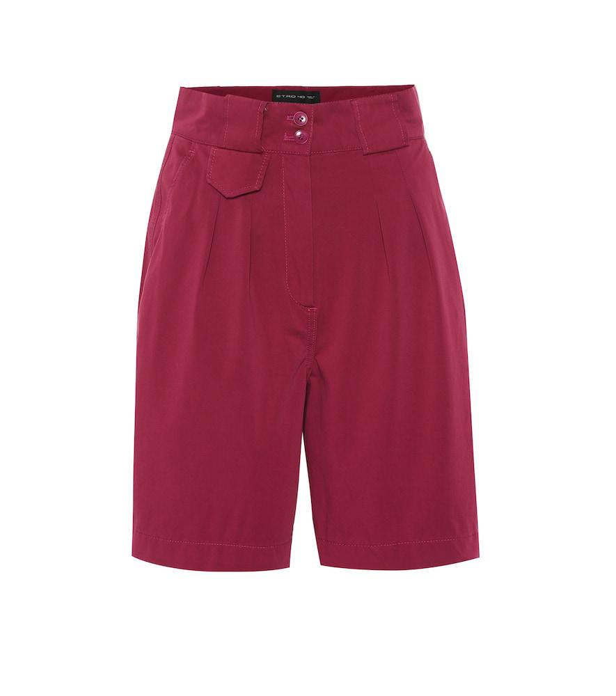 Etro Stretch-cotton Shorts In Purple