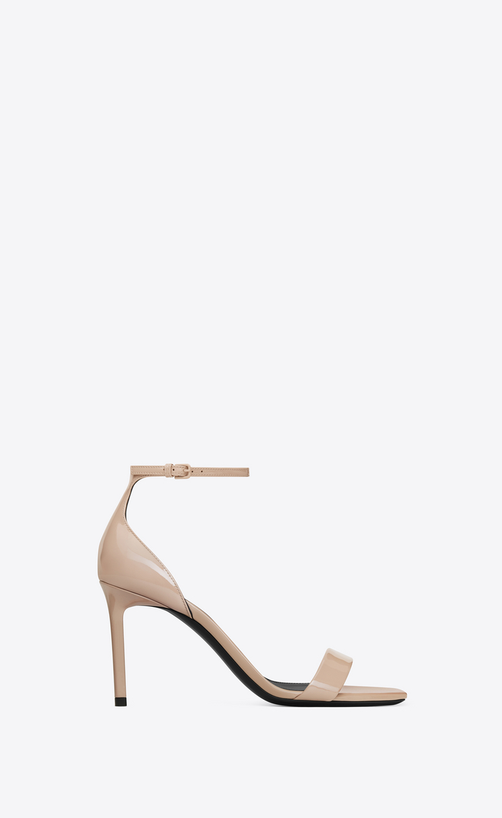 Saint Laurent Amber Sandals In Patent Leather In Powder