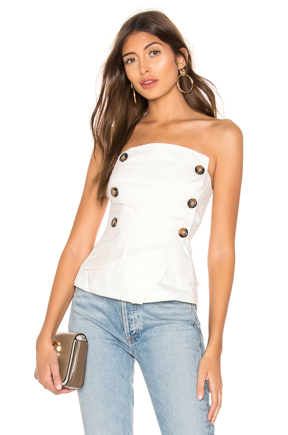 5c30ad9ed17 Superdown Hilary Double Breasted Top In White