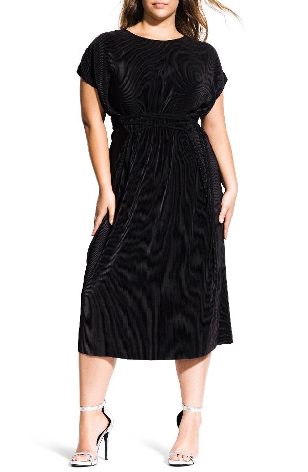 City Chic Trendy Plus Size Baby-Pleat Midi Dress In Black | ModeSens
