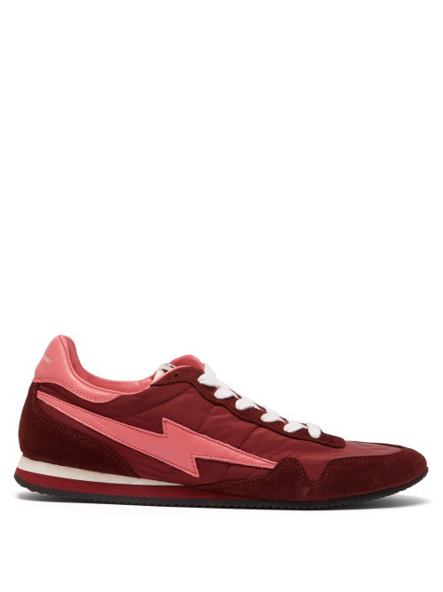 Isabel Marant Bustee Lightning-Bolt Leather And Suede Trainers In Burgundy