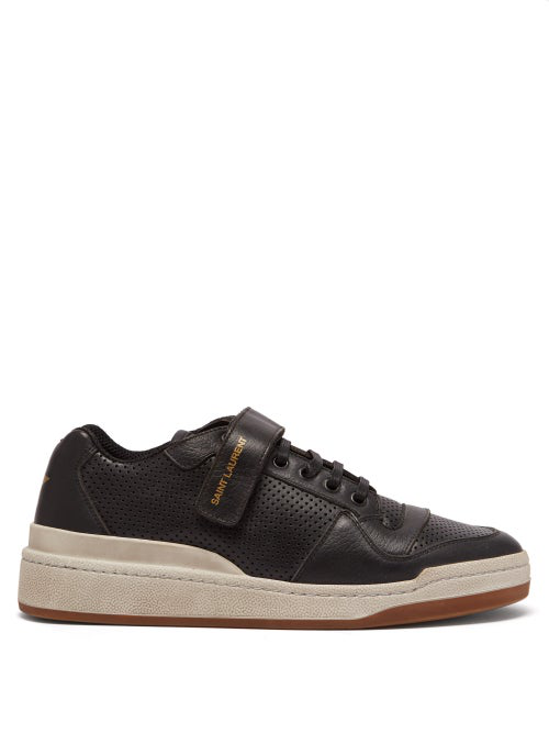 Saint Laurent Travis Perforated Low-Top Leather Trainers In Black