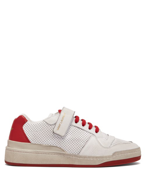 Saint Laurent Travis Perforated Low-Top Leather Trainers In Red White