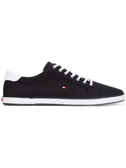 Tommy Hilfiger Logo Embroidered Stripe Detail Sneakers In Blue
