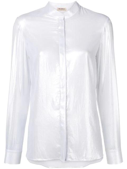 Blanca Band Collar Shirt In Silver