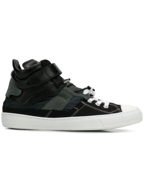 Maison Margiela Black Sneakers Splice High-top In Leather And Fabric