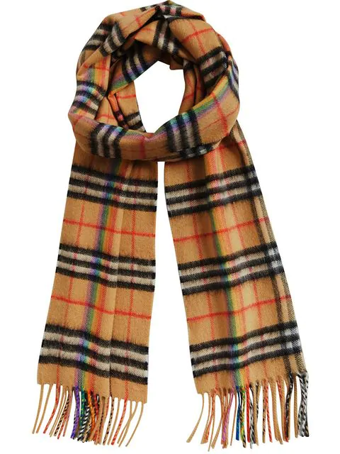 Burberry House Check And Rainbow Silk Scarf In Neutrals