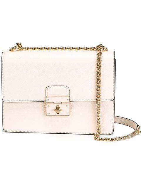 Dolce & Gabbana Rosalia Grained Leather Shoulder Bag, White