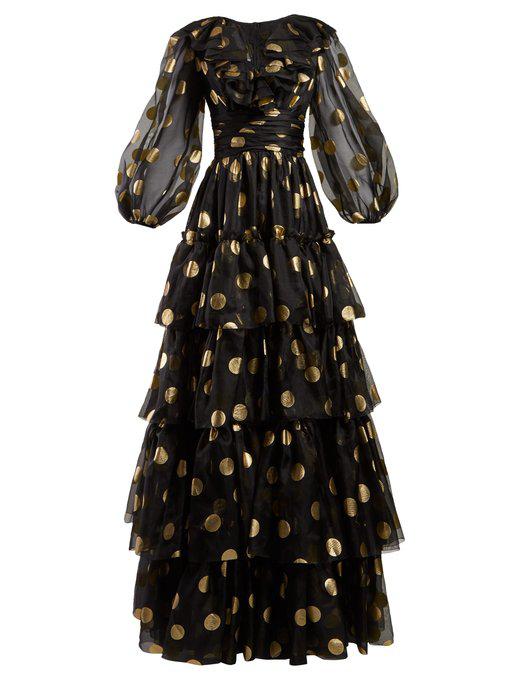 Dolce & Gabbana Polka Dot Print Tiered Silk Organza Gown In Black Gold