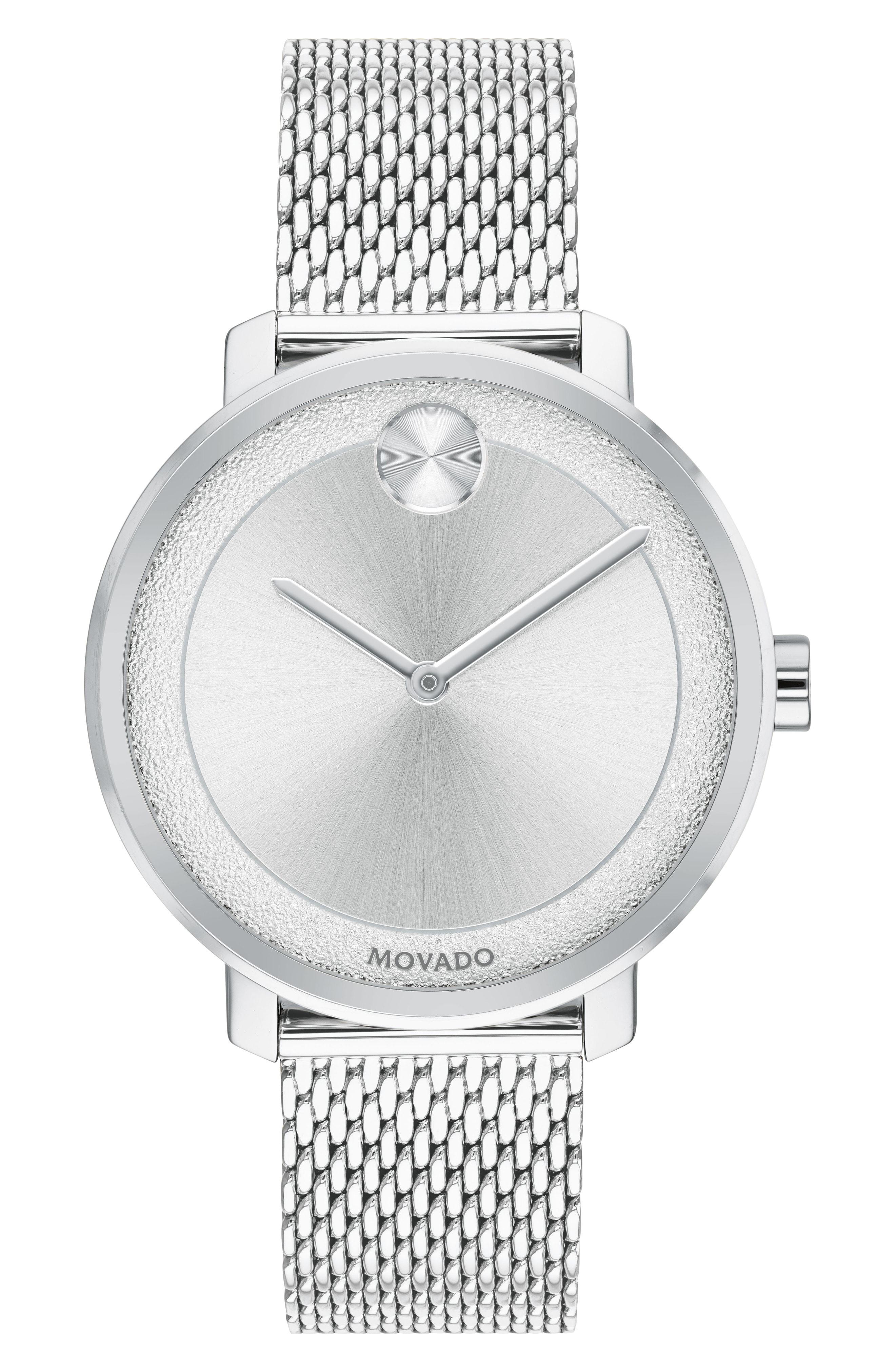 Movado Bold Mesh Bracelet Watch, 34Mm In Silver