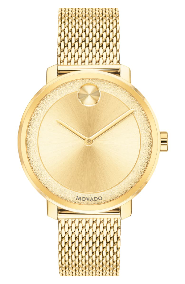 Movado Bold Mesh Bracelet Watch, 34Mm In Gold