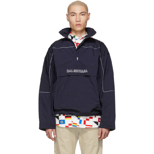 Balenciaga Men's Embroidered Wrinkled Wind-Resistant Jacket In 8065 Navy