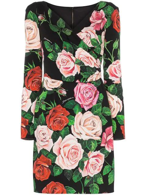 Dolce & Gabbana Floral-Printed Silk Dress In Hnx46 Multicoloured
