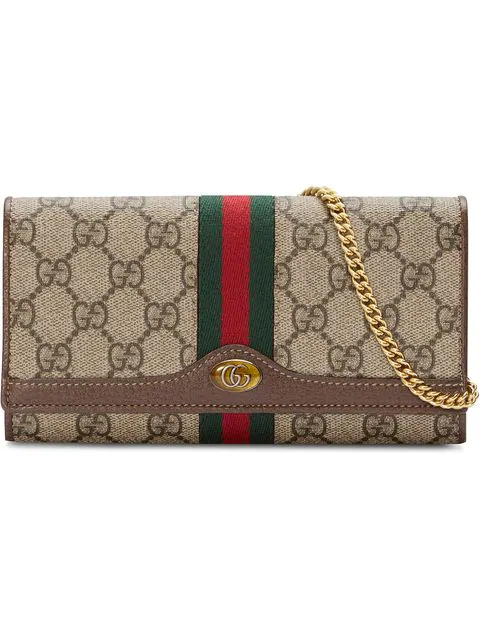 b686ac3e Gucci Ophidia Gg Supreme Canvas Flap Wallet On Chain, Beige In ...
