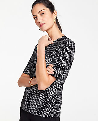Ann Taylor Petite Chevron Knit Top In Black Multi
