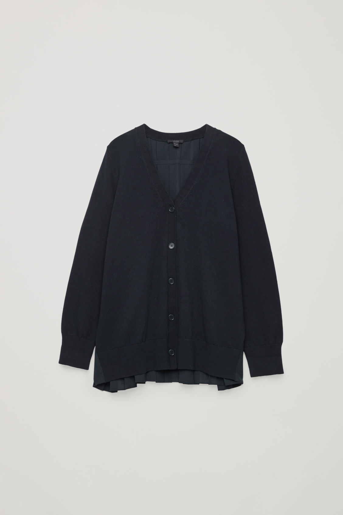 Cos Pleat-Panelled Cardigan In Blue